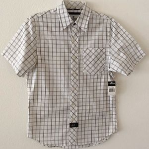 Zoo York Mens SS Button Up Size Small White Plaid